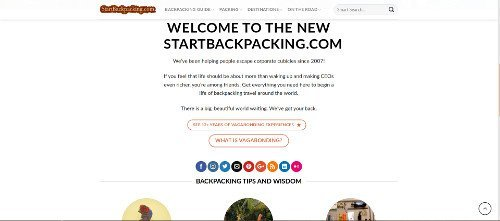 screenshot of startbackpacking.com