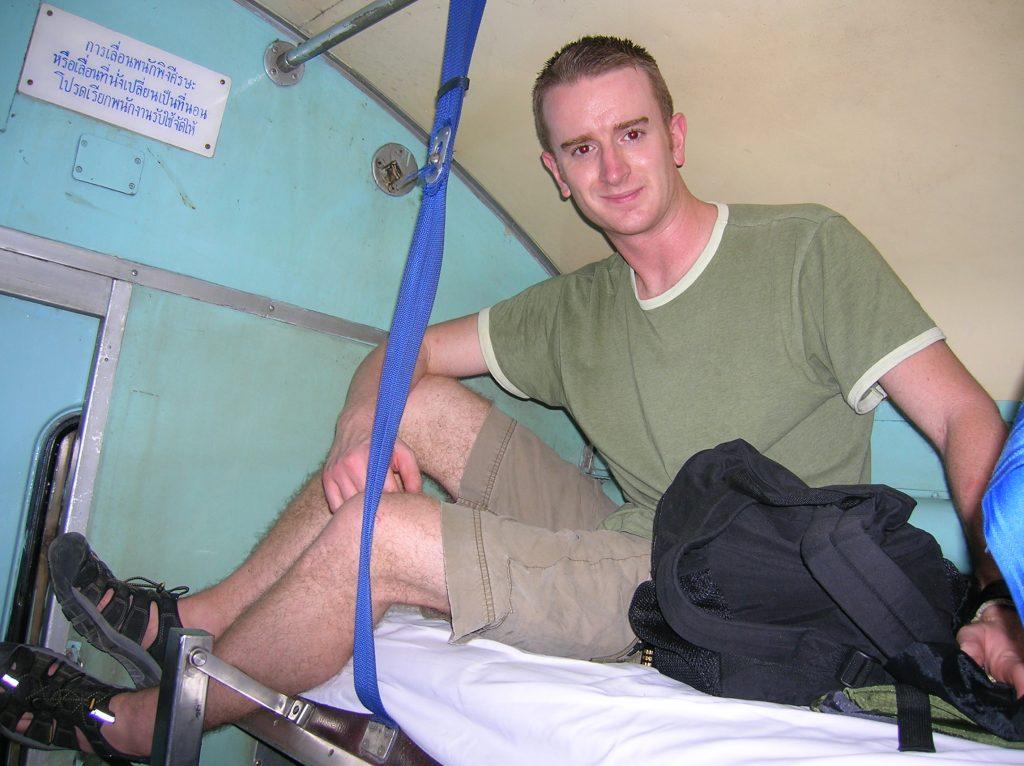 Top bunk on Thai night train