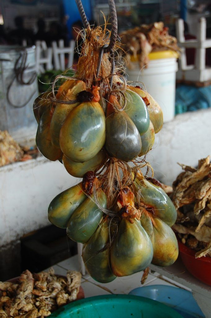 Bull testicles hanging in a market