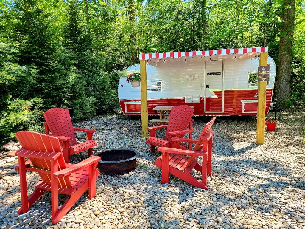 Vintage campers at Camp LeConte for glamping in Gatlinburg