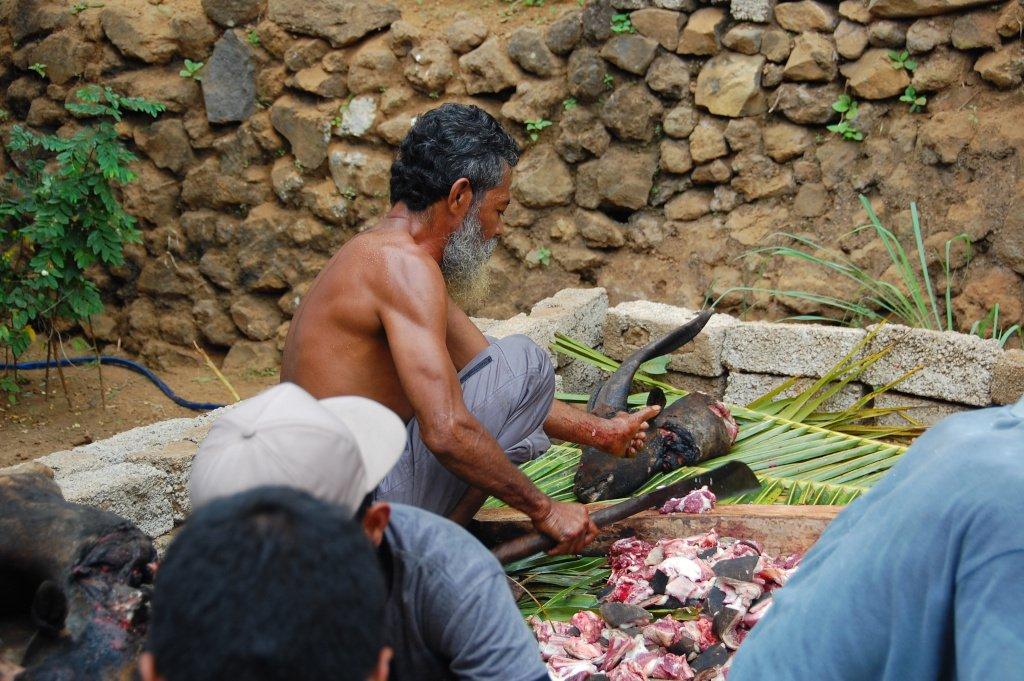 Goat head being prepared in Indonesia