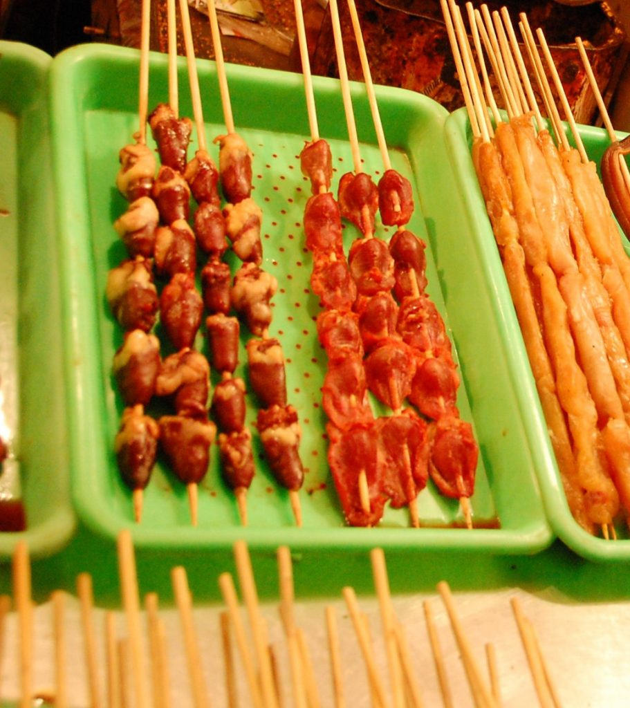 Chicken hearts on a stick